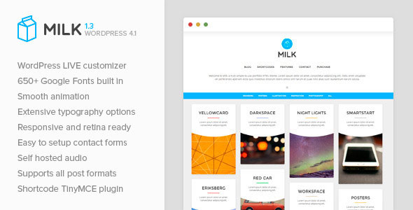 Free Download Milk V1.3 - Simple Masonry WordPress Portfolio Theme