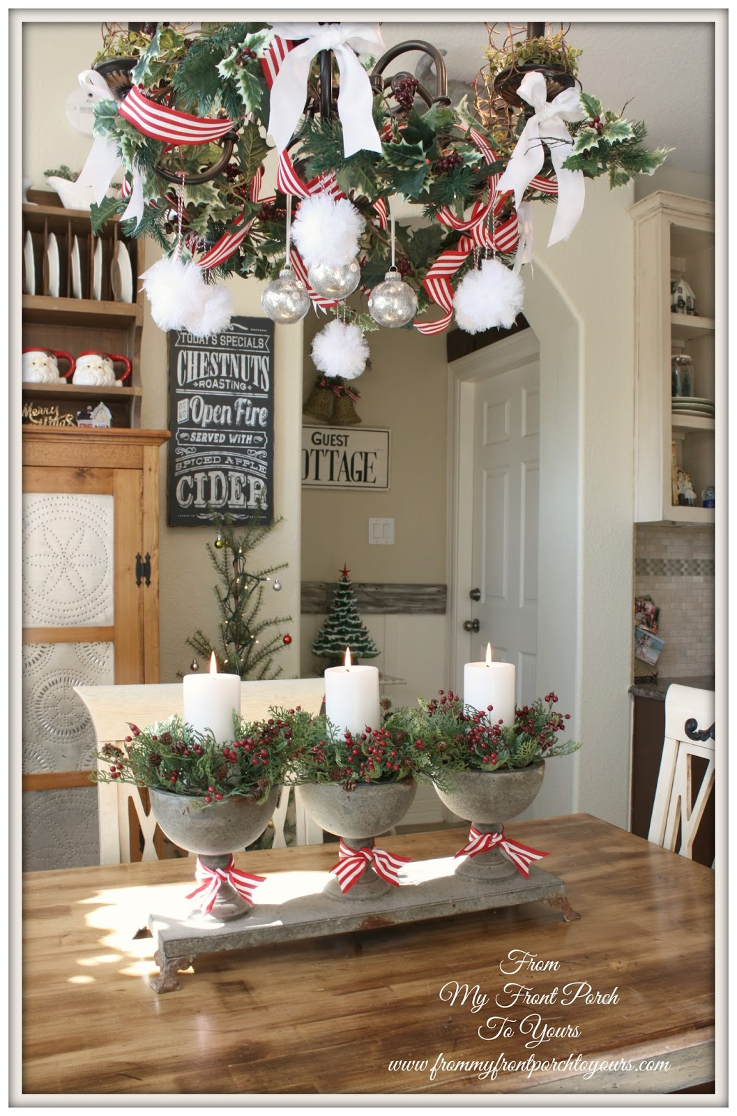 From my front porch to yours french farmhouse holiday for Small kitchen table centerpiece ideas