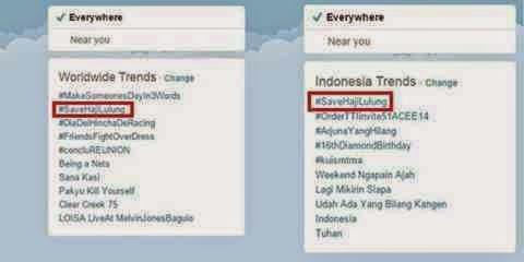 Save Haji Lulung trending Topik Twitter