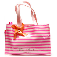 Telley Neon Stripe Shopper Bag & Flip Flop Set In Pink