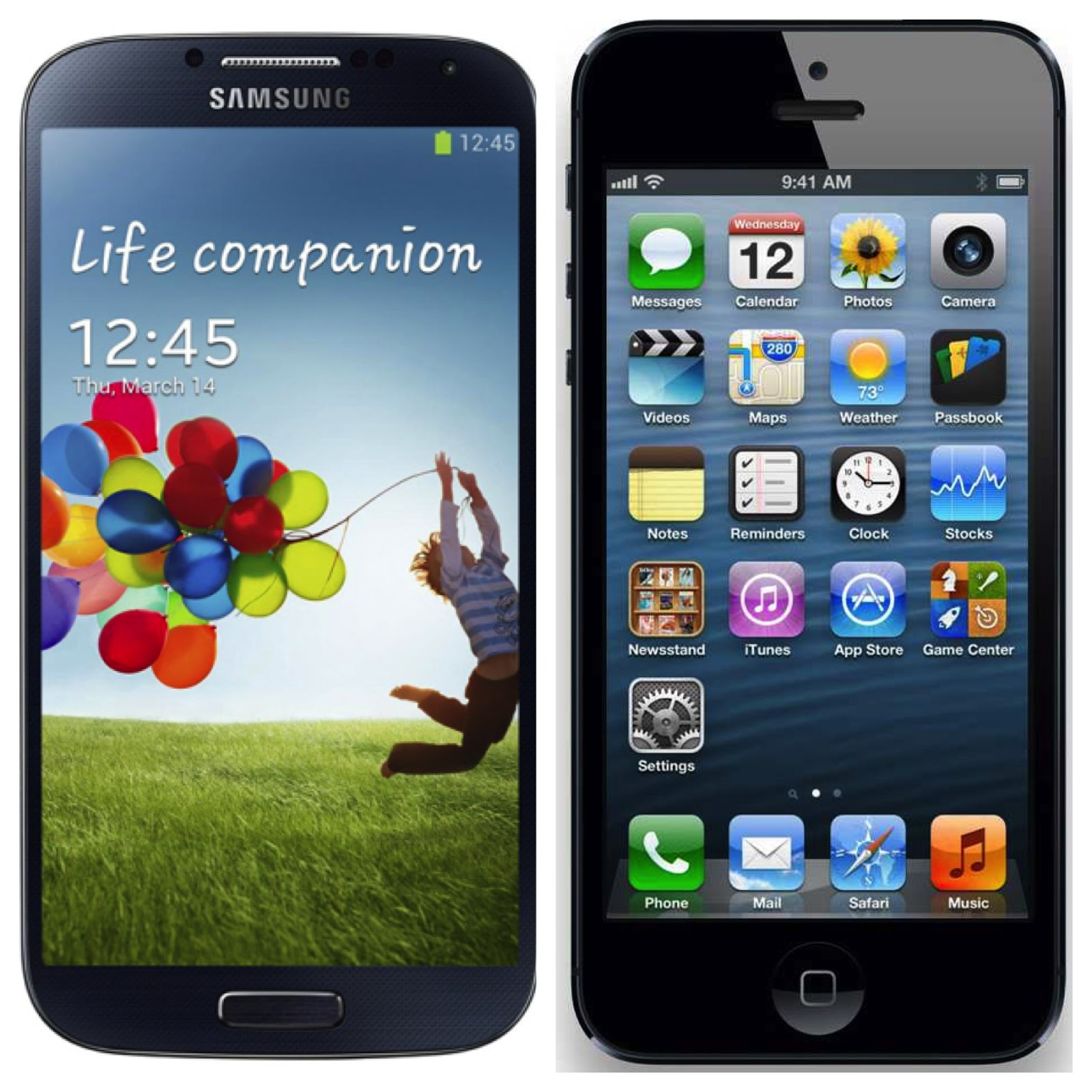Samsung Galaxy S4 vs. Apple iPhone 5 in Details