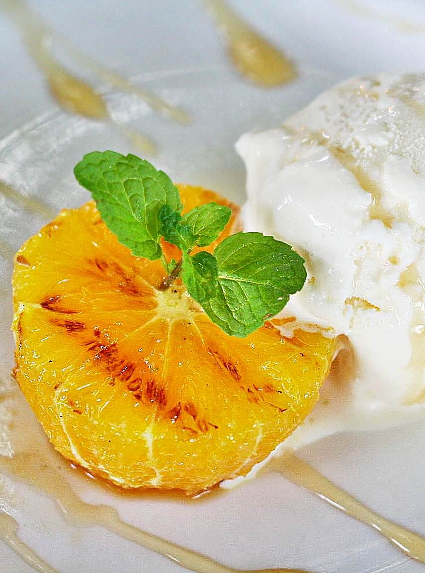 Marcia Adams Grilled Orange with Vanilla Ice Cream