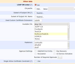 EJBCA Certificate Profile CN postfix and single active certifiate options