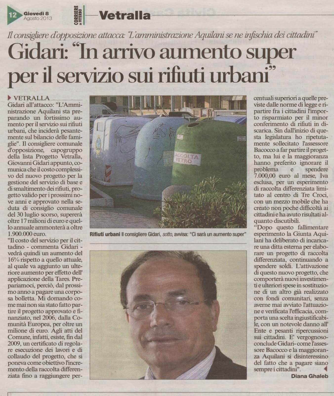 Vetralla: Gidari in arrivo aumenti super per il servizio di rifiuti urbani