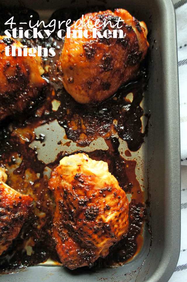Flavourful chicken thighs with a sticky honey, mustard and ginger glaze | from The Road to Less Cake | #chicken #paleo #glutenfree #wheatfree #honey