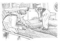 Dibujo de marineros reparando redes de pesca, Luis Resines