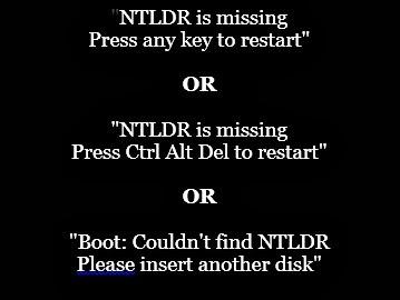 beragam jenis pesan error NTLDR
