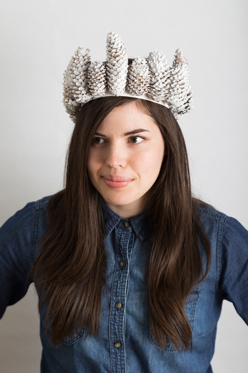 Start a new tradition of making hats for each other to wear on Thanksgiving like this pinecone crown.