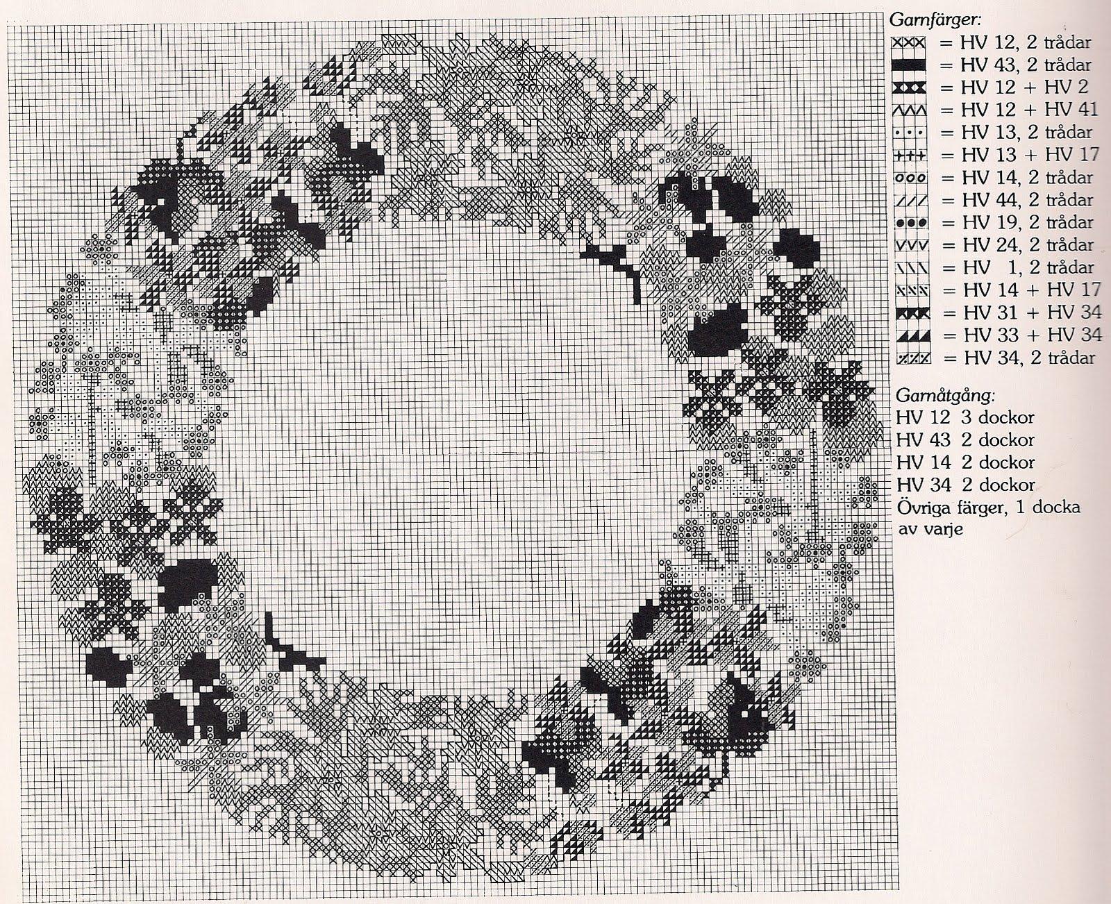 Схемы вышивки венков крестом 68