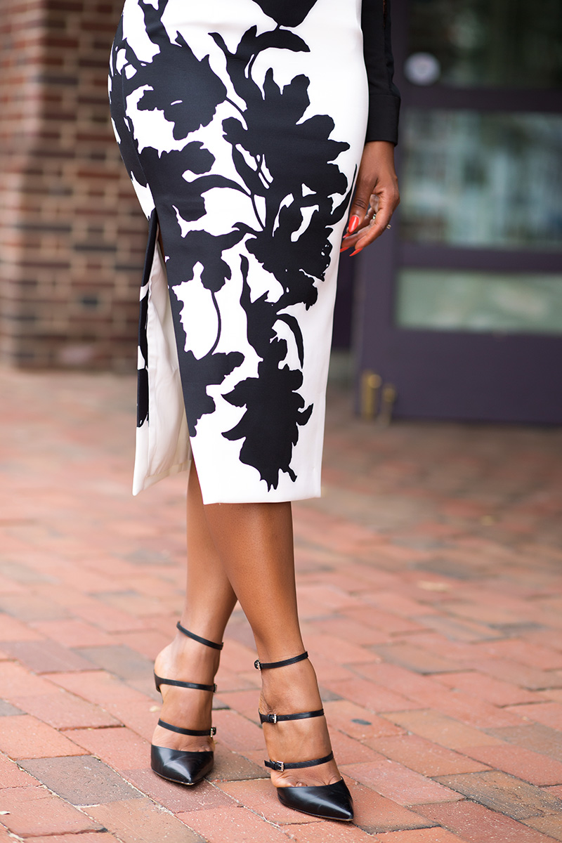 Pencil skirt, Cameo shadowplay column skirt from anthropologie, gianvito rossi buckle strap pumps