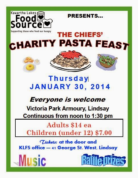 2014 KAwartha Lakes Food Source Chiefs Charity Pasta Feast Poster