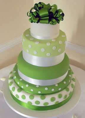 green and white polka dot wedding cake