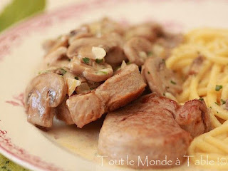 Filet mignon de porc aux champignons (sur Tout le monde  table !)