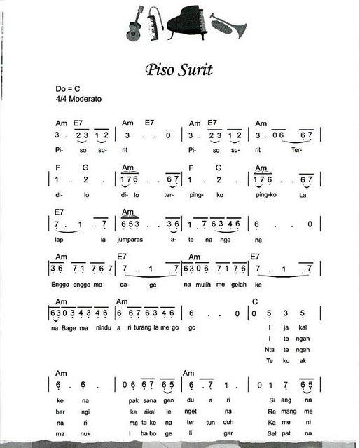 Chord Lirik Lagu Batak Partitur Lagu Piso Surit Chord Lirik Lagu