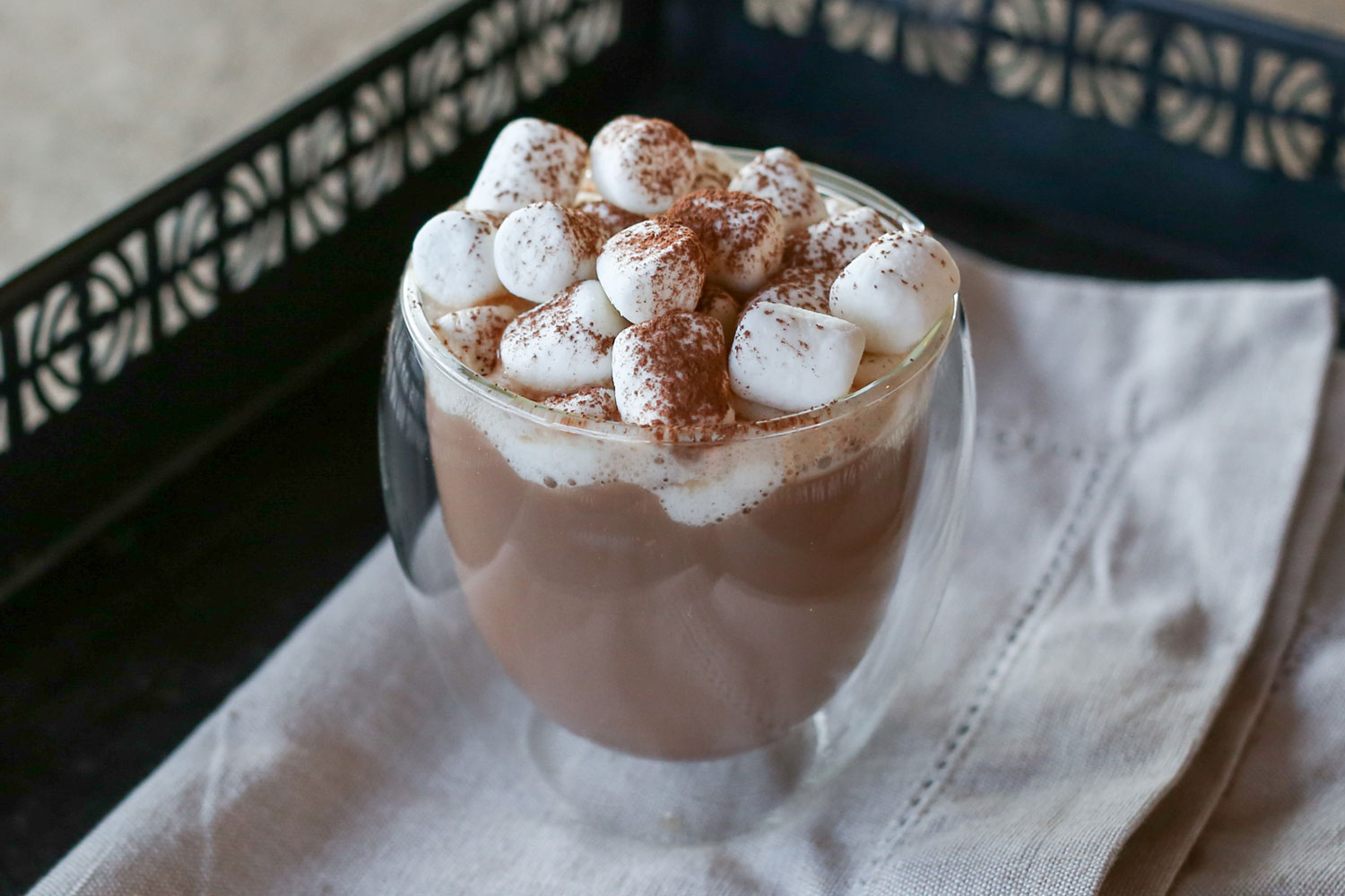 High Octane Hot Chocolate is a warm, smooth, chocolate-y mocha with a splash of booze! (get the recipe at Barefeet In The Kitchen)