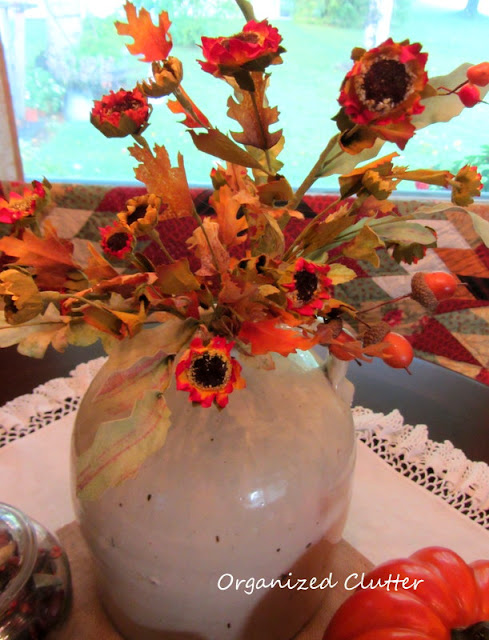 Fall Floral Spray in a Stoneware Jug