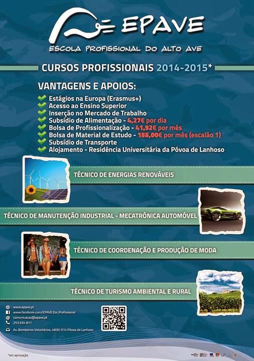 cursos profissionais 2014 2015 na povoa de lanhoso