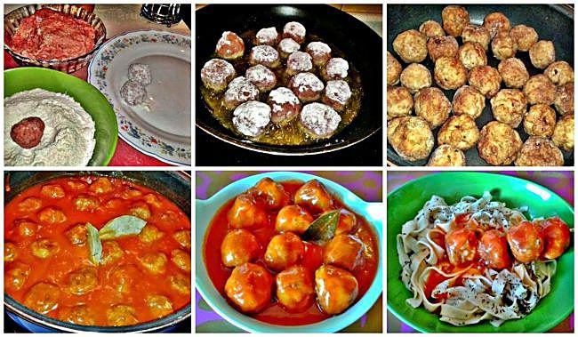 Preparación de las albóndigas con tomate