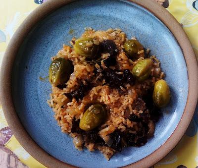 arroz con setas y coles