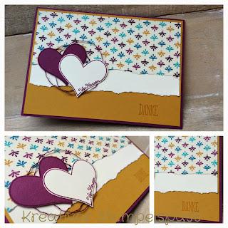 Karte, Danke, Designerpapier Boheme, Mit Liebe geschenkt