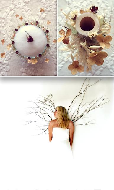 centrotavola con fiori secchi, in bambù e cotone