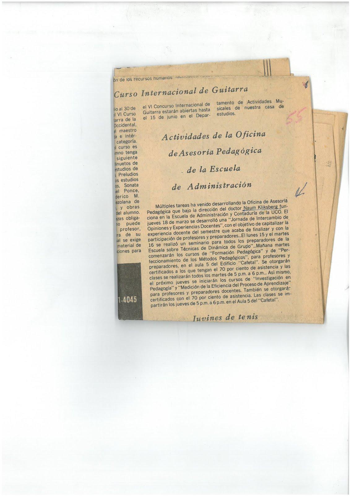 26 - PERIODICO EL IMPULSO, VENEZUELA, 22/03/1976 NAUM KLIKSBERG CONSTITUYÓ EN VARIAS UNIVERSIDADES