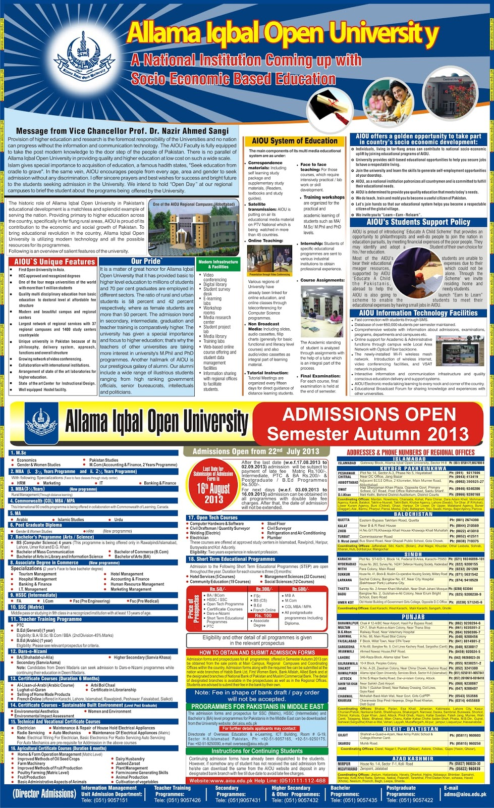 University Matric FA Fsc BA Bsc MA MSc Bcom MBA MS Admission 2013