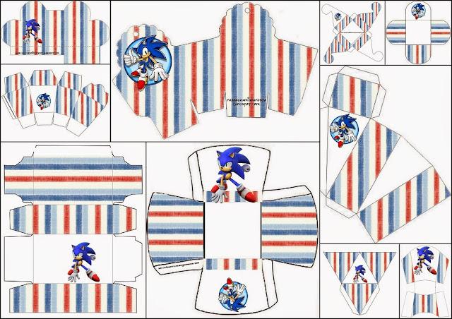 Sonic: Cajas para Imprimir Gratis.