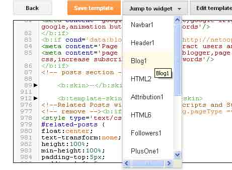 Expand Widget Templates in new Blogger HTML Template Editor