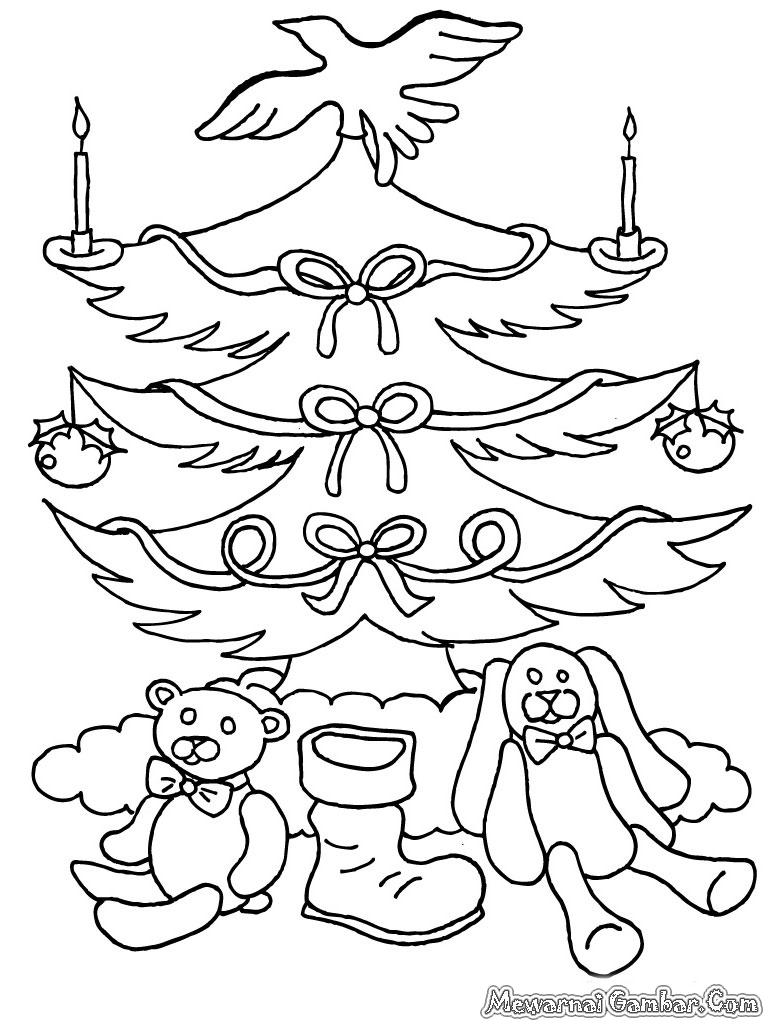 Halaman mewarnai gambar pohon natal