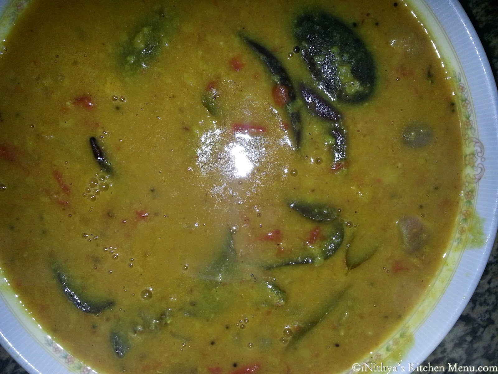 MyKitchenMenuBrinjal Sambar with Coconut