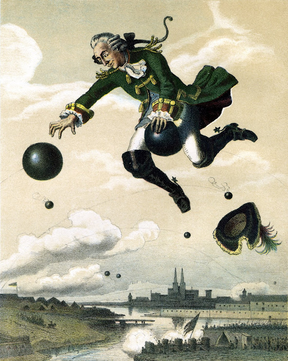 Baron Muenchhausen riding a canon ball
