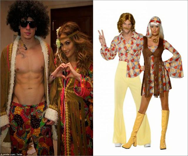 Jennifer López y Casper Smart disfraz hippie y, disfraz hippie