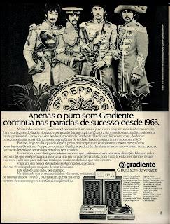 propaganda Gradiente - The Beatles - 1976.  anos 70.  década de 70. os anos 70; propaganda na década de 70; Brazil in the 70s, história anos 70; Oswaldo Hernandez;