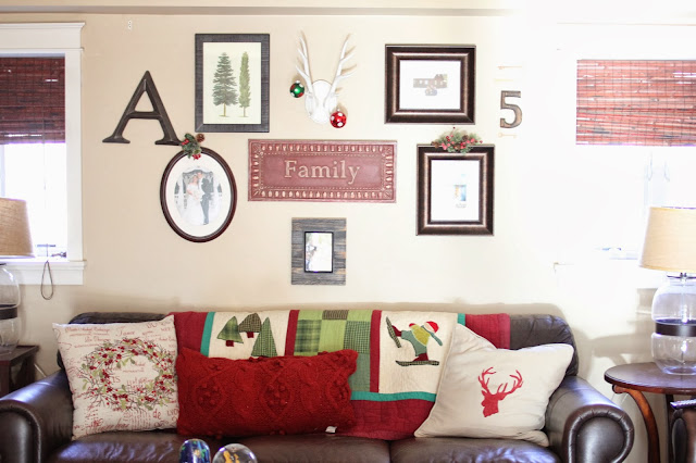 Gallery wall and Christmas Target Quilt-www.goldenboysandme.com