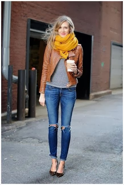 Cute Outfits with a Brown Leather Jacket