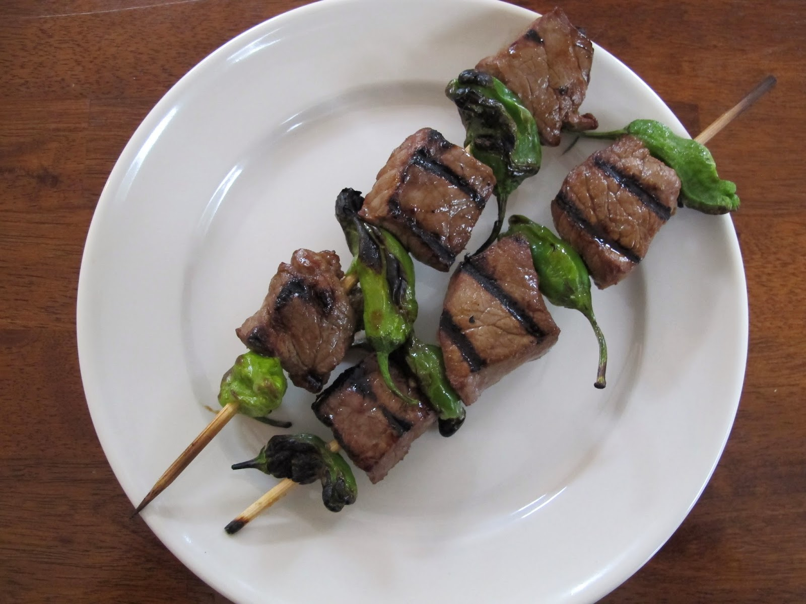 Grilled Steak and Shishito Pepper Skewers