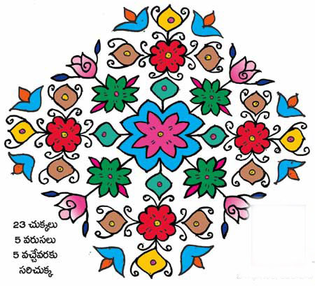 Rangoli designs with dots & colours| Sankranti telugu muggulu