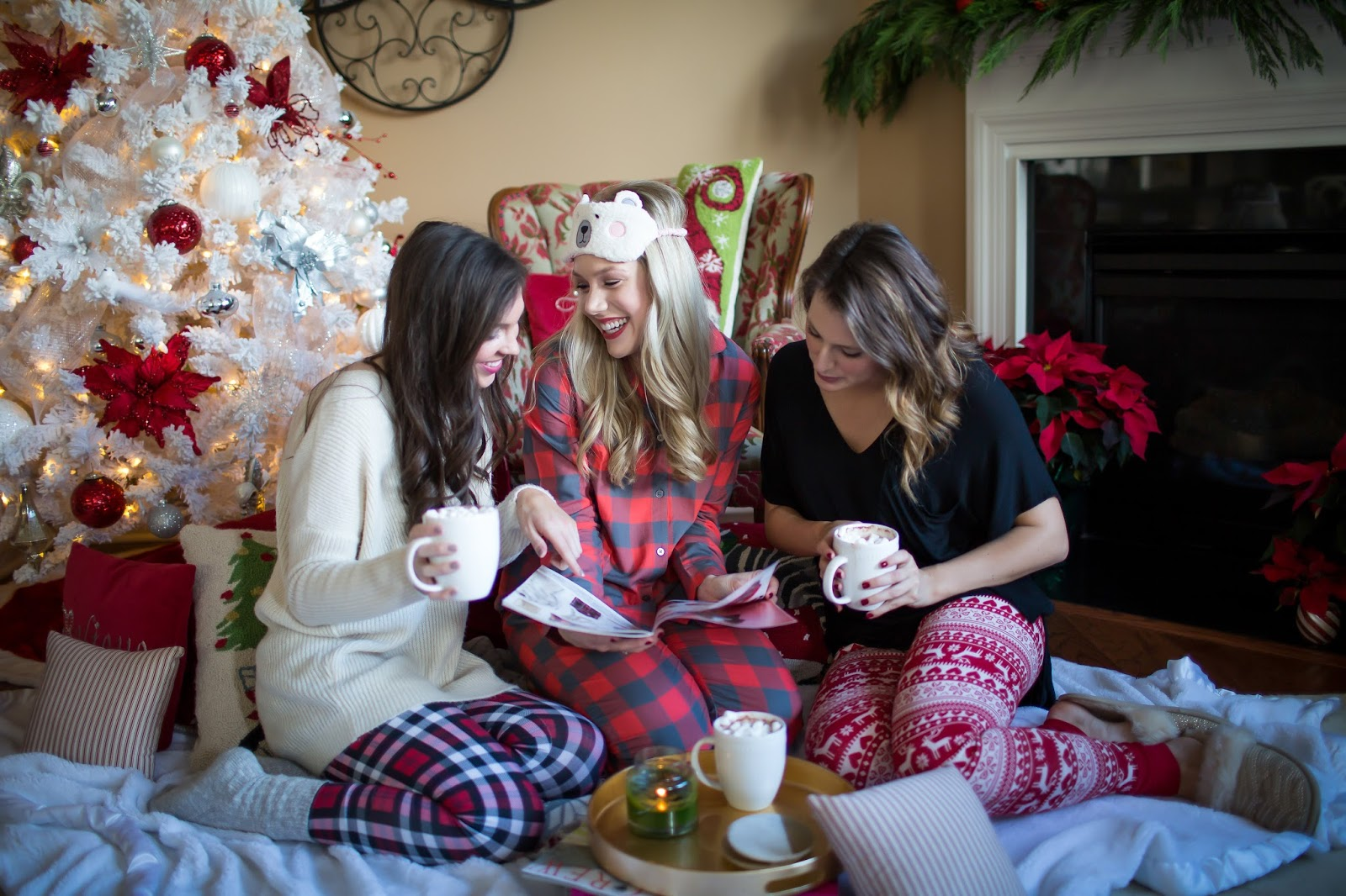 Christmas party photography, brittney rowland photography, christmas jammies, holiday party ideas, christmas party ideas, cozy christmas ideas, winter style, fashion bloggers, north carolina bloggers, nordstrom pajamas, nordstrom christmas pj's, christmas decor, plaid pajamas, oversized sweater, hot chocolate photography