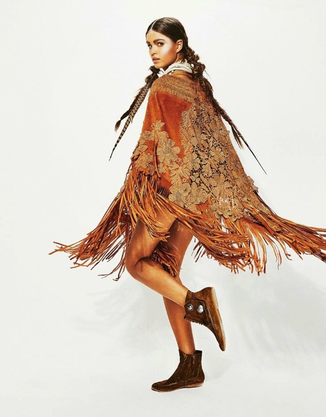 Alberta Ferretti 2015 SS Brown Lace Tassels Poncho Editorials