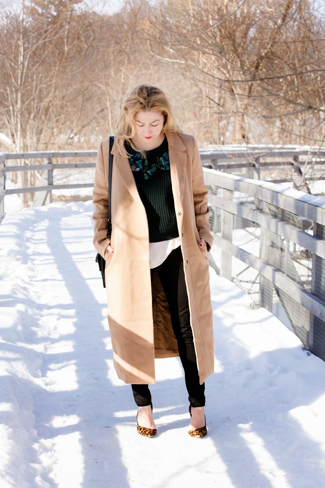 camel coat, leopard pumps, DL1961 Emma jeans, Hudson moto