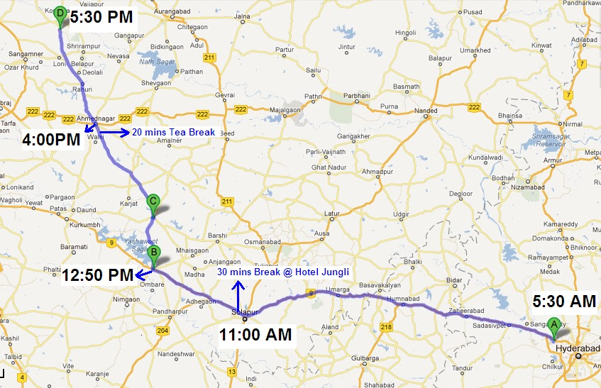 Live To Drive Hyderabad To Shirdi Drive By Car - Map route distance
