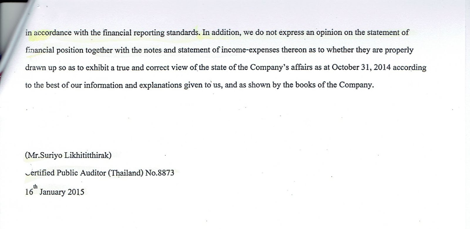 Auditors Didn T Approve The Jcc Financial Document Jcc Information