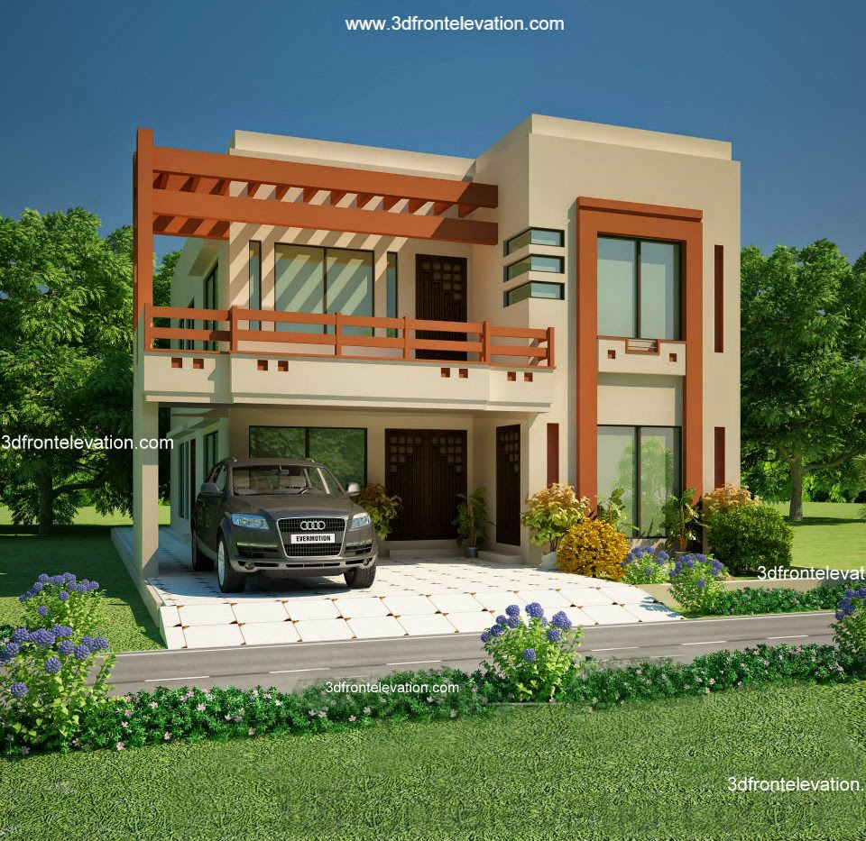 3d front 5 10 marla house plan 3d front for Home designs 12m frontage