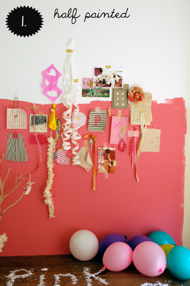 half painted wall, half painted pink wall, pink wall, interior design
