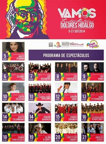 Programa Fiestas Patrias Dolores Hidalgo 2014