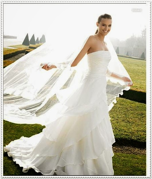 Frühjahr/Sommer Brautkleider mit langer Schleier