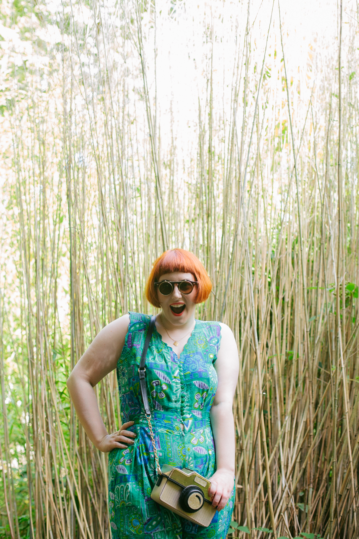 Edinburgh, Royal Botanic Gardens, Tropical style, summer style, jumpsuit, Nicely Eclectic, ebay sunglasses, Lucky Dip Club necklace, shell necklace, Accessorize camera bag, novelty handbag, Mint & Chillies, Mint and Chillies photography, girl gang, girl gang weekender, crazy jumpsuit, red head, ginger