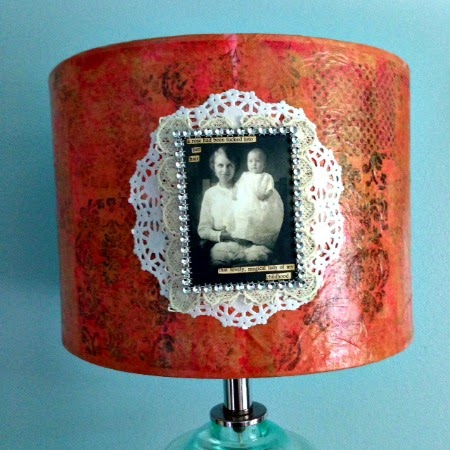 Red Lead Mixed Media Lampshade by Kimberly Jones serendipityvintagestudio.blogspot.com