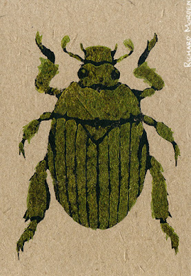 hand printed christmas beetle card